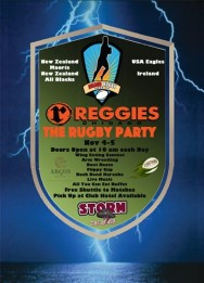 Party with The Beach Rugby America crew at Reggies