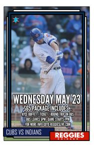 CUBS VS INDIANS AT WRIGLEY TICKET PACKAGE