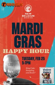 New Belgium X Reggies Mardi Gras Happy Hour