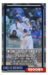 CUBS VS BREWERS AT WRIGLEY TICKET PACKAGE