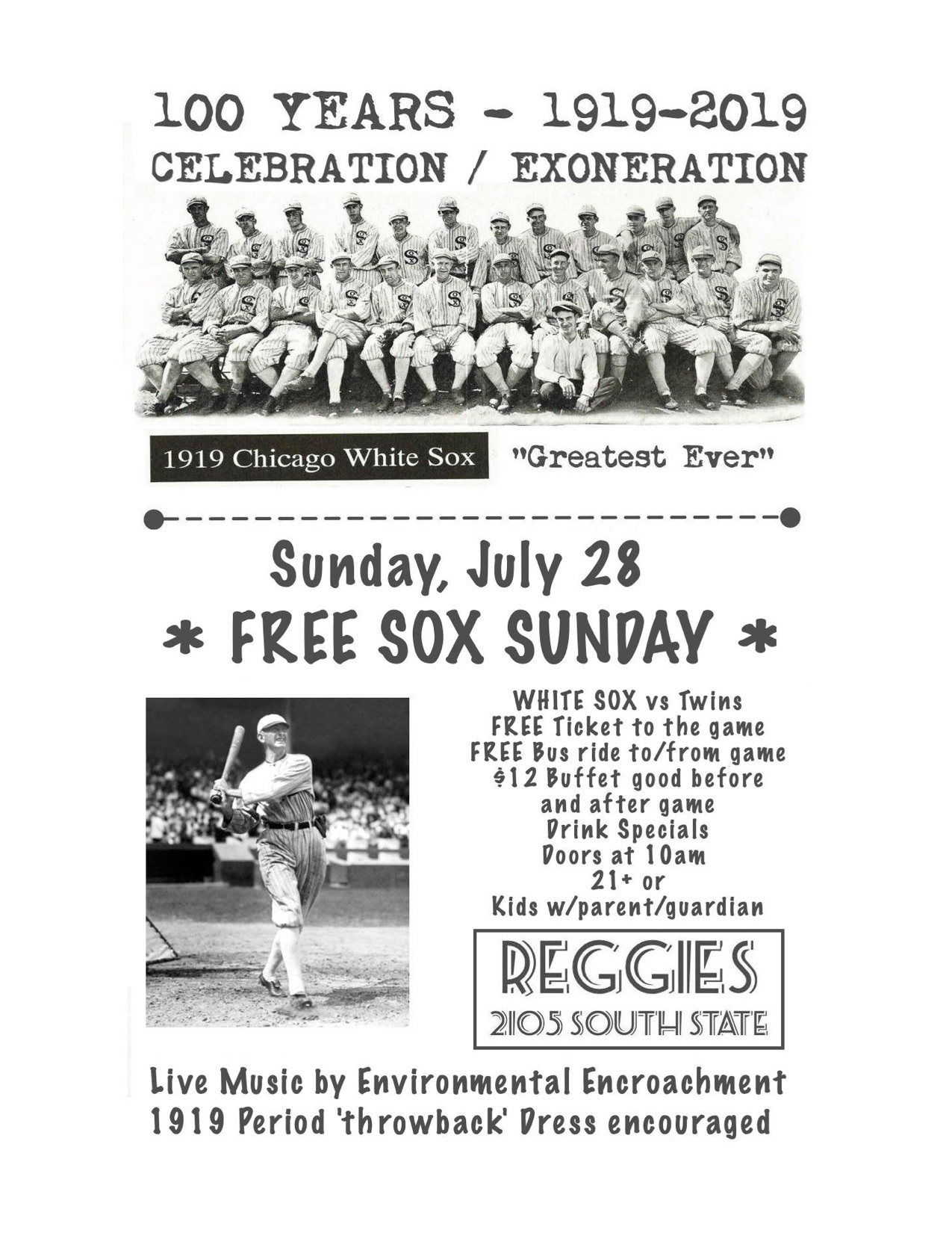 1919 Chicago Black Sox Celebration - Reggies Chicago